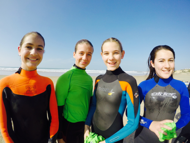 Young Girls Surfing Lessons Spain