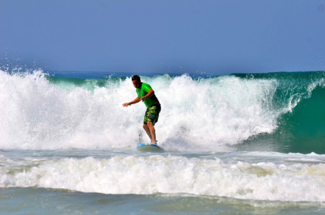 Big Waves In Conil. Conil summer surfing waves.